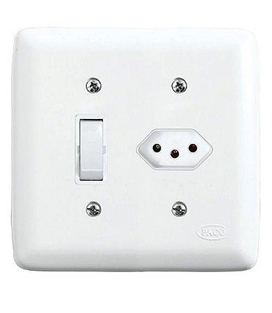 Conjunto 1 Interruptor Simples + 1 Tomada 2P+T 10A 250V