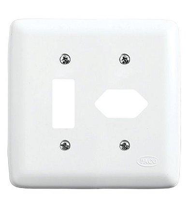 Conjunto Placa para 1 Interruptor + 1 Tomada