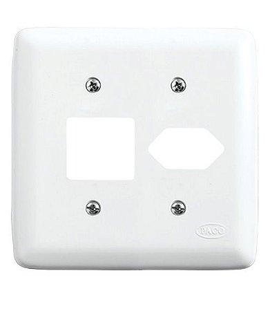 Conjunto Placa para 2 Interruptores + 1 Tomada