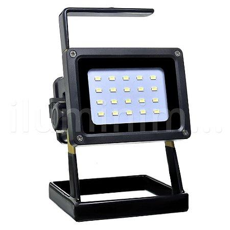 Refletor LED MicroLED Recarregável Portátil 30w Branco Frio
