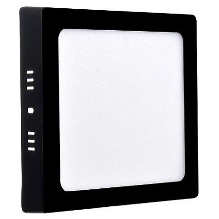 Luminária Plafon 12w LED Sobrepor Branco Quente Preto