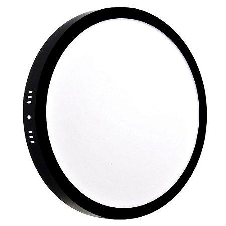 Luminária Plafon 25w LED Sobrepor Branco Quente Preto