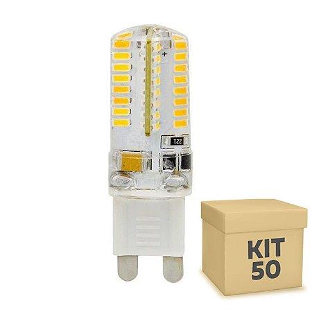 Kit 50 Lampada LED Halopin G9 3w Branco Quente 220V | Inmetro