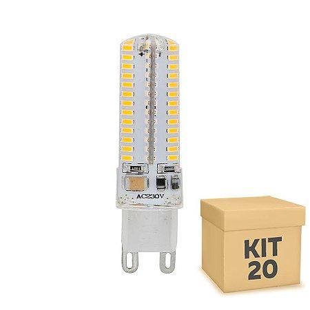 Kit 20 Lampada LED Halopin G9 5w Branca Amarela 220V   Inmetro