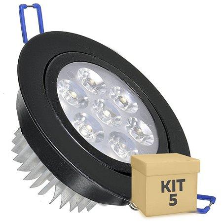 Kit 5 Spot Dicróica 7w LED Direcionável Corpo Preto