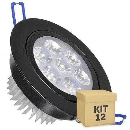 Kit 12 Spot Dicróica 7w LED Direcionável Corpo Preto