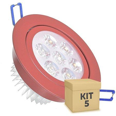 Kit 5 Spot Dicróica 7w LED Direcionável Corpo Vermelho