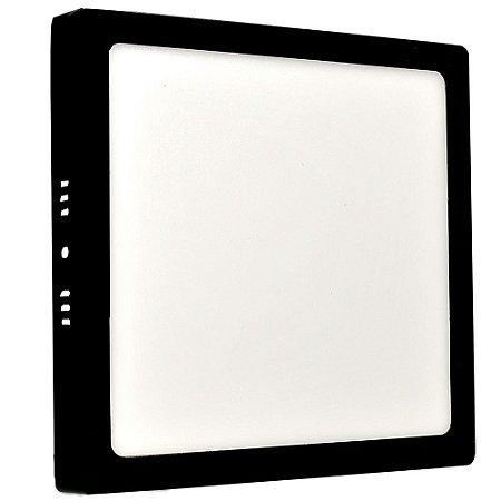 Luminária Plafon 18w LED Sobrepor Branco Neutro Preto