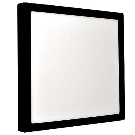 Luminária Plafon 25w LED Sobrepor Branco Neutro Preto