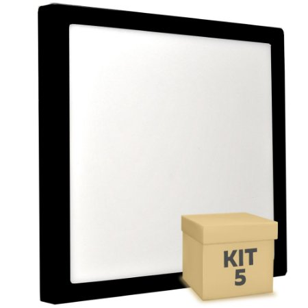 Kit 5 Luminária Plafon 25w LED Sobrepor Branco Frio Preto
