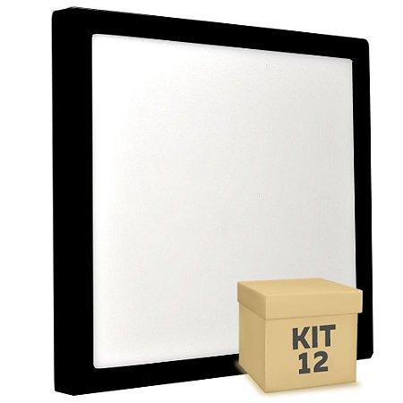 Kit 12 Luminária Plafon 25w LED Sobrepor Branco Frio Preto
