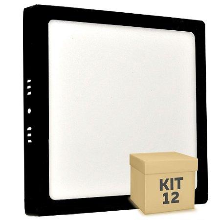 Kit 12 Luminária Plafon 18w LED Sobrepor Branco Neutro Preto