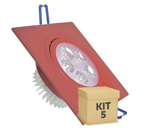 Kit 5 Spot 5W Dicróica LED Direcionavel Base Vermelho