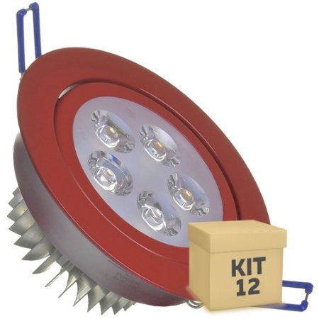 Kit 12 Spot Dicróica 5w LED Direcionável Corpo Vermelho
