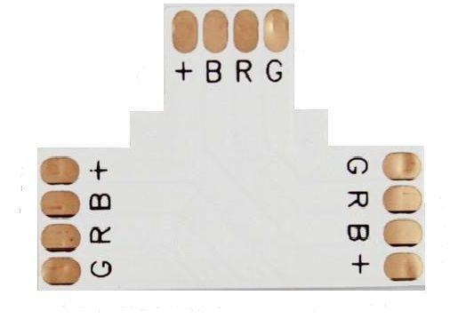 Conector PCB em T para Fita Led 10mm RGB 4 Vias