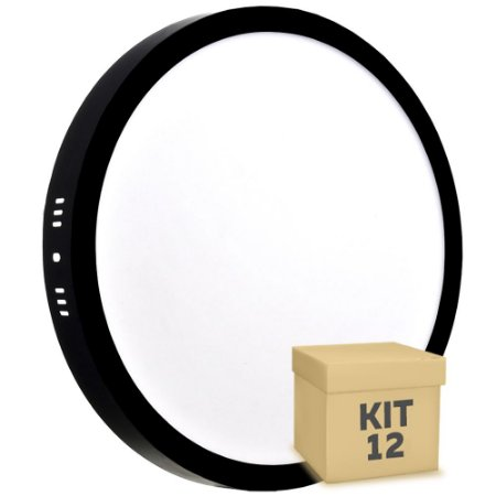 Kit 12 Luminária Plafon 25w LED Sobrepor Branco Neutro Preto