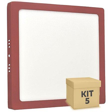 Kit 5 Luminária Plafon 18w LED Sobrepor Branco Quente Vermelho