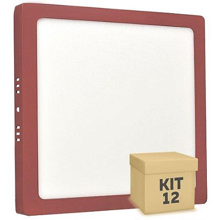 Kit 12 Luminária Plafon 18w LED Sobrepor Branco Quente Vermelho