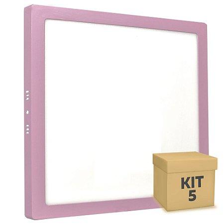 Kit 5 Luminária Plafon 25w LED Sobrepor Branco Frio Rosa