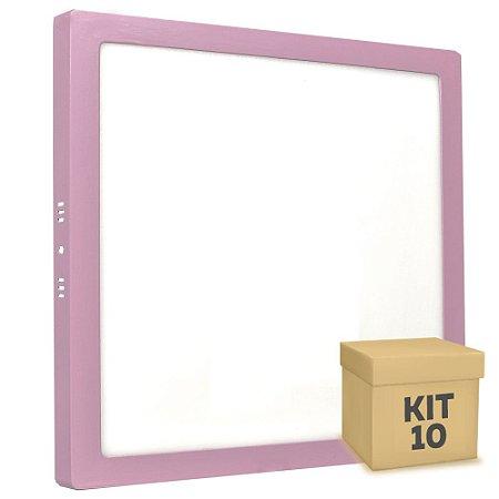 Kit 10 Luminária Plafon 25w LED Sobrepor Branco Frio Rosa