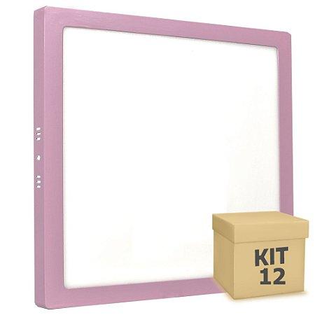 Kit 12 Luminária Plafon 25w LED Sobrepor Branco Frio Rosa