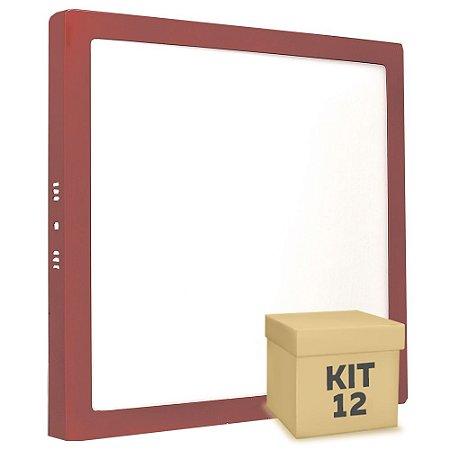 Kit 12 Luminária Plafon 25w LED Sobrepor Branco Quente Vermelho