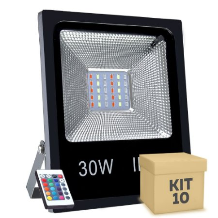 Kit 10 Refletor Holofote MicroLED SMD 30w RGB Colorido com Controle