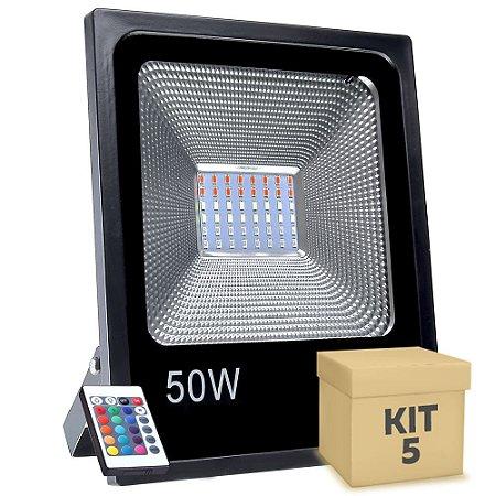 Kit 5 Refletor Holofote MicroLED SMD 50W RGB Colorido com Controle