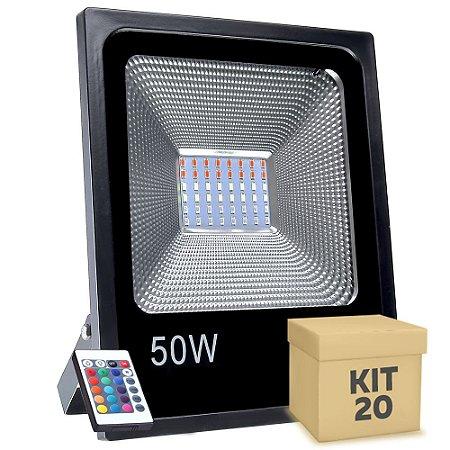 Kit 20 Refletor Holofote MicroLED SMD 50W RGB Colorido com Controle