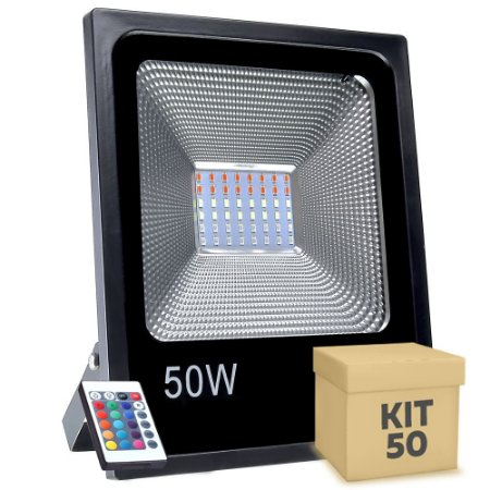Kit 50 Refletor Holofote MicroLED SMD 50W RGB Colorido com Controle