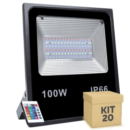Kit 20 Refletor Holofote MicroLED SMD 100W RGB Colorido com Controle