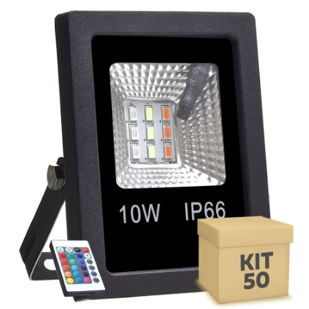Kit 50 Refletor Holofote MicroLED SMD 10w RGB Colorido com Controle