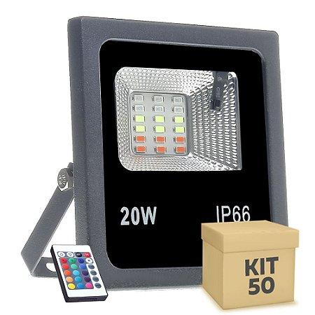 Kit 50 Refletor Holofote MicroLED SMD 20w RGB Colorido com Controle