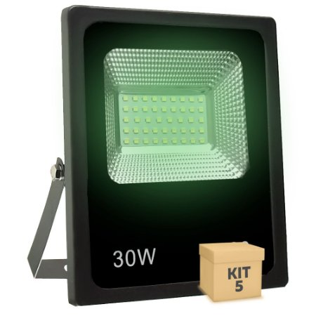 Kit 5 Refletor Holofote MicroLED SMD 30W Verde