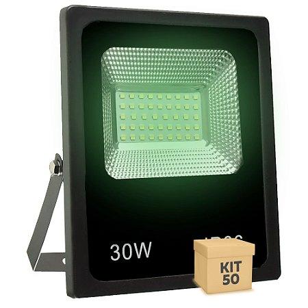 Kit 50 Refletor Holofote MicroLED SMD 30W Verde