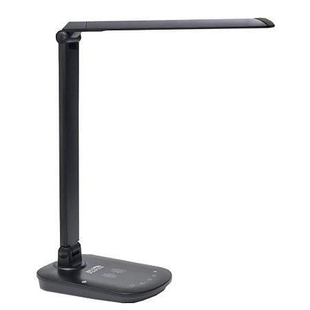 Luminária LED de Mesa 8W com Carregador de Celular Sem Fio - Preto