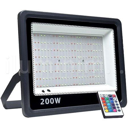 Refletor Holofote MicroLED SMD 200W RGB Colorido com Controle