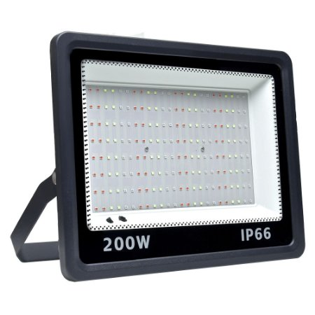 Refletor MicroLED Ultra Thin 200W RGB Colorido com Controle Black Type