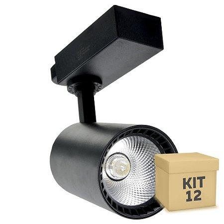 Kit 12 Spot LED 10W Branco Quente para Trilho Eletrificado Preto