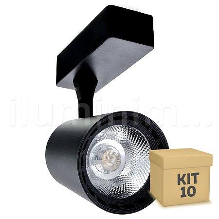 Kit 10 Spot LED Cob 12w 3500K para Trilho Eletrificado Preto
