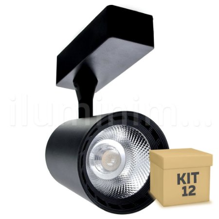 Kit 12 Spot LED 12W Branco Quente para Trilho Eletrificado Preto