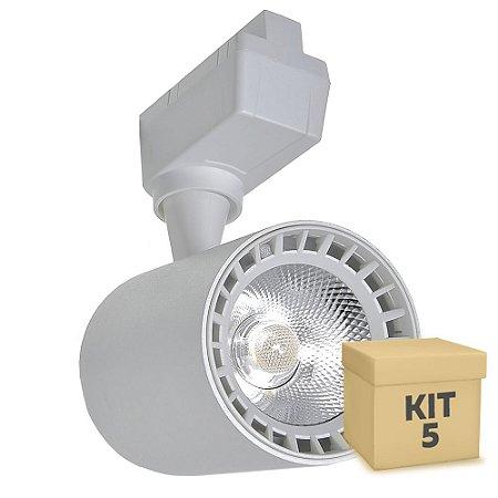 Kit 5 Spot LED 10W Branco Neutro para Trilho Eletrificado Branco