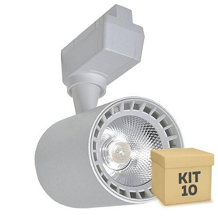 Kit 10 Spot LED 10W Branco Neutro para Trilho Eletrificado Branco