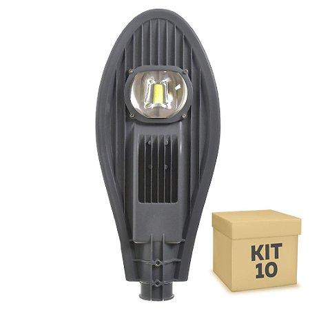 Kit 10 Luminária Pública Super LED 50w Branco Frio