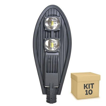 Kit 10 Luminária Pública Super LED 100w Branco Frio