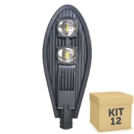 Kit 12 Luminária Pública Super LED 100w Branco Frio