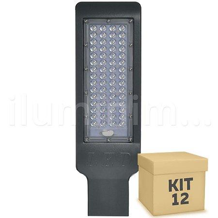 Kit 12 Luminária Pública LED SMD 50W Branco Frio