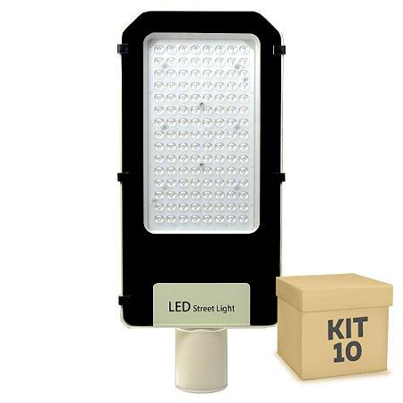 Kit 10 Luminária Pública Ultra LED SMD 100w Branco Frio
