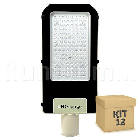 Kit 12 Luminária Pública Ultra LED SMD 100w Branco Frio