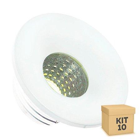 Kit 10 Mini Spot LED COB 3W Embutir Redondo